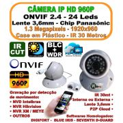 Camera Ip Dome Hd 1.3 Mp 960p 1280x960 Onvif 2.4 3,6mm Ir 30mt P2p Plastico 24 Leds H.264