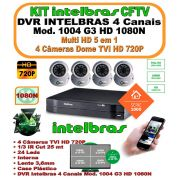 Kit Intelbras Dvr 4 Canais Multi Hd 1004 G3 1080n 5 Em 1 + 4 Câmeras Tvi 720p 1mp