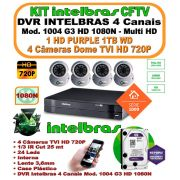 Kit Intelbras Dvr 4 Canais Multi Hd 1004 G3 1080n 5 Em 1 + 4 Câmeras Tvi 720p 1mp + Hd 1tb Purple Wd