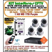 Kit Intelbras DVR 4 Canais Mult HD 1004 G3 5 em 1 + 4 Câmeras IP Dome 960p 1.3mp + 1 HD WD 1Tb Purple