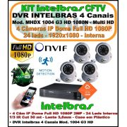 Kit Intelbras DVR 4 Canais Mult HD 1004 G3 5 em 1 + 4 Câmeras IP Dome Full HD 1080p 2mp