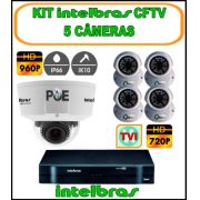 Kit Intelbras DVR 5 Canais Mult HD 1004 G3 5 em 1 + 1 Câmera IP Intelbras Dome 960p 1.3 Megapixels Varifocal 2,8 à 12mm IP66 IK10 + 4 Câmeras TVI Dome 720P 1MP