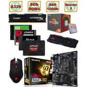 PC Gamer Amd Ryzen 5 1400 - AM4 Placa Mãe GA-A320M-HD2 AM4 Memória DDR4 8Gb Hyperx Fury 2133mhz HD SSD 120gb Mouse Gamer Tarantula Teclado Gamer Spider GK