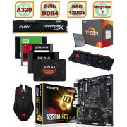 PC Gamer Amd Ryzen 7 1700 - AM4 Placa Mãe GA-A320M-HD2 AM4 Memória DDR4 8Gb Hyperx Fury 2133mhz HD SSD 120gb Mouse Gamer Tarantula Teclado Gamer Spider GK