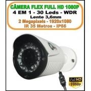 Câmera Hibrida Flex Full HD 1080p 2 megapixels 4 em 1 HD-TVI, HD-CVI, AHD, CVBS IP66 WDR Lente 3,6mm 30 Leds IR 35 Metros