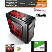 Computador Amd FX-8300 3.3Ghz Base / 4.2Ghz Turbo - Asus M5A78L-M PLUS USB3.0 VGA HDMI DVI - Memória DDR3 16gb + Hd SSD 240Gb Acessórios