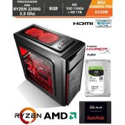 Computador - PC Gamer AMD Ryzen 3 2200G 3.5Ghz Video Graphics Vega 8 - A320M AM4 - Memória DDR4 8Gb - HD SSD 120Gb + Hd 1Tb