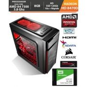 Computador - PC Gamer Basic Amd Apu A4 7300 4ghz Radeon Hd8470d 8gb Fonte Real e Gabinete Gamer + Hd SSD + Acessorios