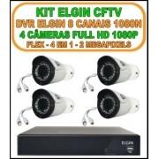 Kit CFTV Elgin Dvr 8 Canais 1080N + 4 Câmera Hibrida Flex Full HD 1080p 2 megapixels 4 em 1 HD-TVI, HD-CVI, AHD, CVBS IP66 WDR Lente 3,6mm 30 Leds IR 35 Metros