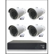 Kit Cftv Ip Nvr 4 Canais 1080P Full HD + 4 Câmeras IP Bullet 1.3 Megapixels 960P Lente de 3,6mm 36 Leds Infravermelho 30 Metros Proteção IP66