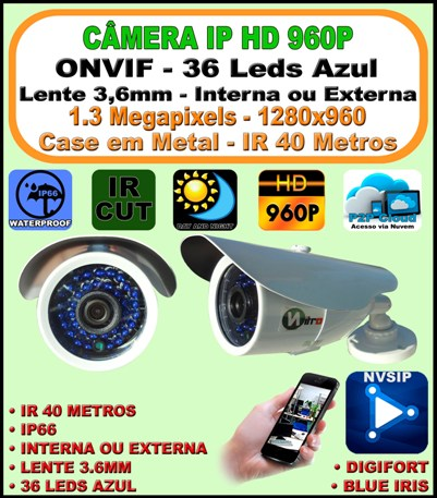 Câmera Ip Onvif 2.0 Hd Ir Bullet 1.3mp 3,6mm 960p 40m 36 Leds Azul 2.0 H264