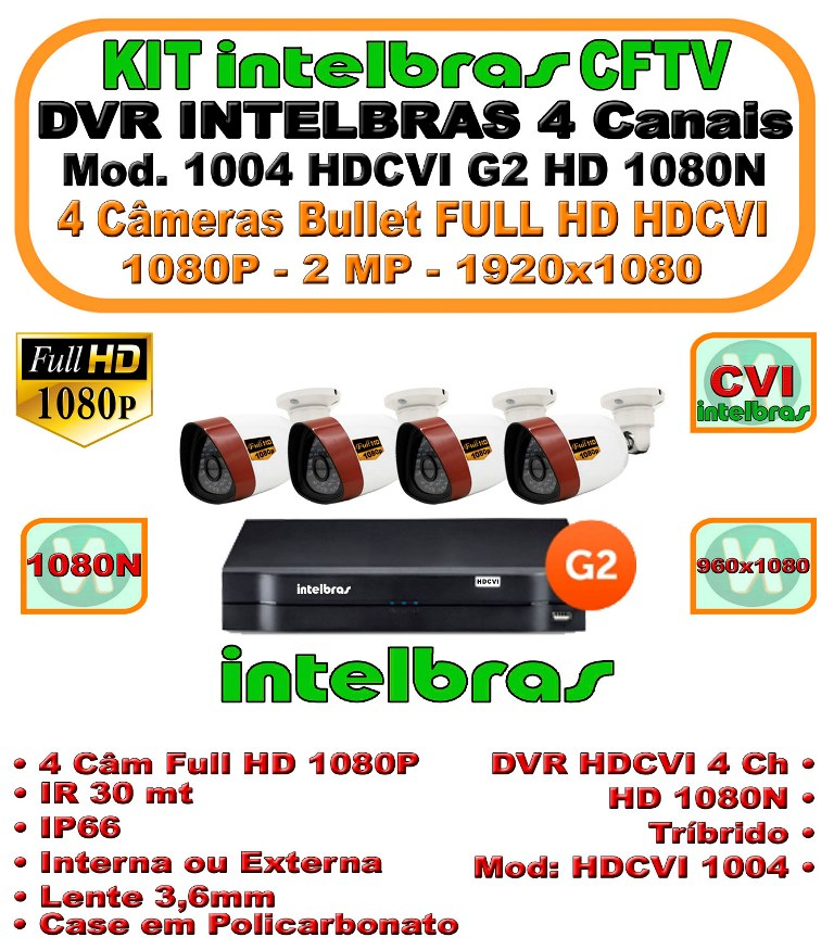 Kit Intelbras Cftv DVR 4 Canais G3 HDCVI 1080N 4 Cameras Full HD HDCVI 1080P 2MP
