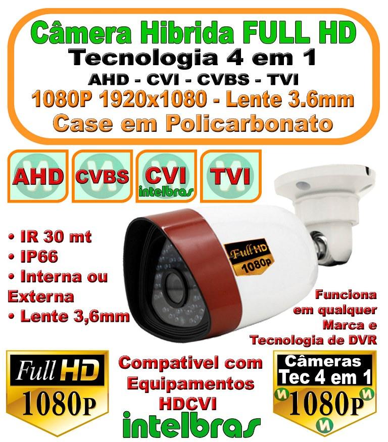 Câmera Full Hd 1080p 3,6mm 4 Em 1 Ahd Hdcvi Tvi Suporte intelbras
