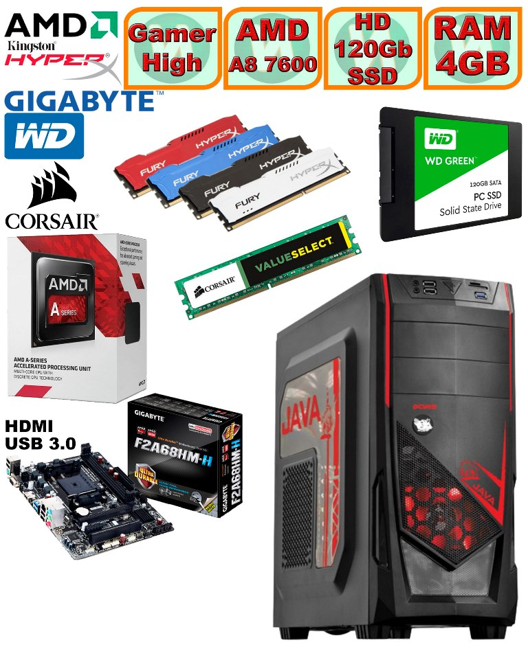 Computador - PC Gamer High Amd Apu A8 7600 3.1GHz (Turbo 3.8) Radeon Hd8470d 4gb + Hd SSD + Acessorios