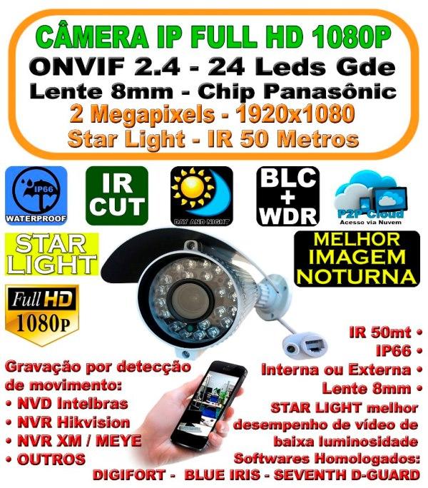 Camera Ip Full Hd 1080p 2mp Star Light 8mm Ir 50mt Ip66 1920x1080 24leds