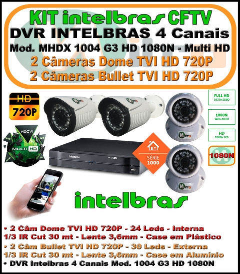 Kit Intelbras Dvr 4 Canais Multi Hd 1004 G3 1080n 5 Em 1 + 4 Câm Tvi 720p 1mp dome e bullet