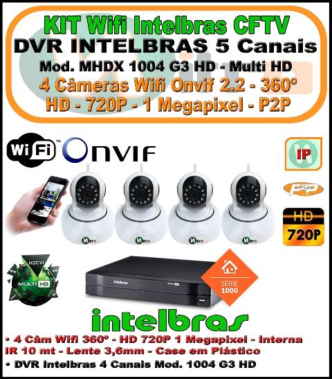 Kit Wifi Intelbras Nvr 5 Canais Multi Hd 1004 G3  5 Em 1 + 4 Câmeras Onvif Wifi 360 HD 720P 1 Megapixel 3,6mm Sensor 1/4