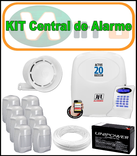 Kit Central de Alarme - Central de Alarme Active 20 Ethernet + 100 Metros de Cabo + Bateria 12v 7 Amper + 8 Sensores IDX 1001 + Sirene