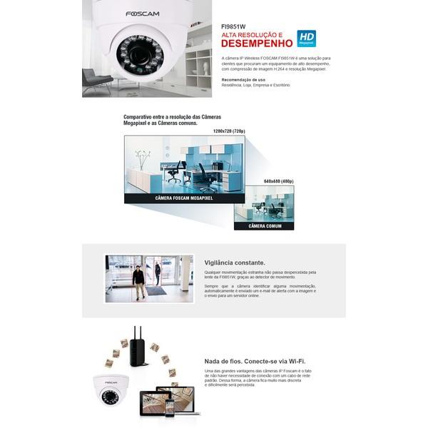 Câmera Ip Wireless 1mp Hd Foscam 1280x720p Ir-cut Infra