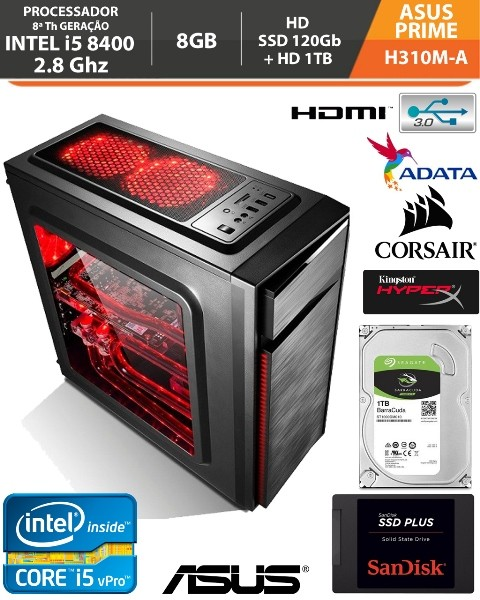 Computador - PC Gamer Intel Core i5 8400 2.8Ghz - ASUS H310M-A PRIME - Memória DDR4 8gb - HD Ssd 120gb + HD 1tb
