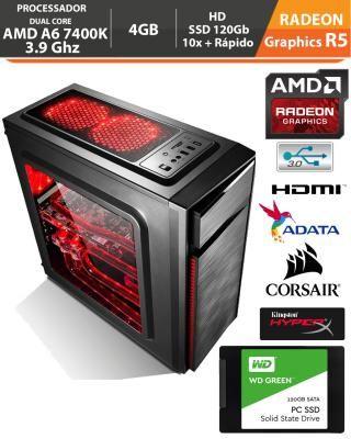 PC Gamer Amd Apu A6 7400K 3.9Ghz Radeon R5 Memória DDR3 4GB + Gabinete Gamer + Hd SSD 120gb + Acessórios
