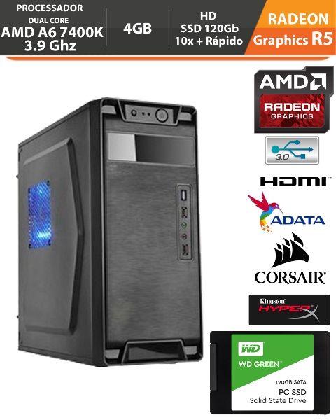 PC Gamer Medium Amd Apu A6 7400K 3.9Ghz Radeon R5 Memória DDR3 4GB + Hd SSD 120gb + Acessórios