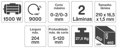 """Plaina Desempenadeira e Desengrossadeira 8"""" 1500W -  Gamma"""