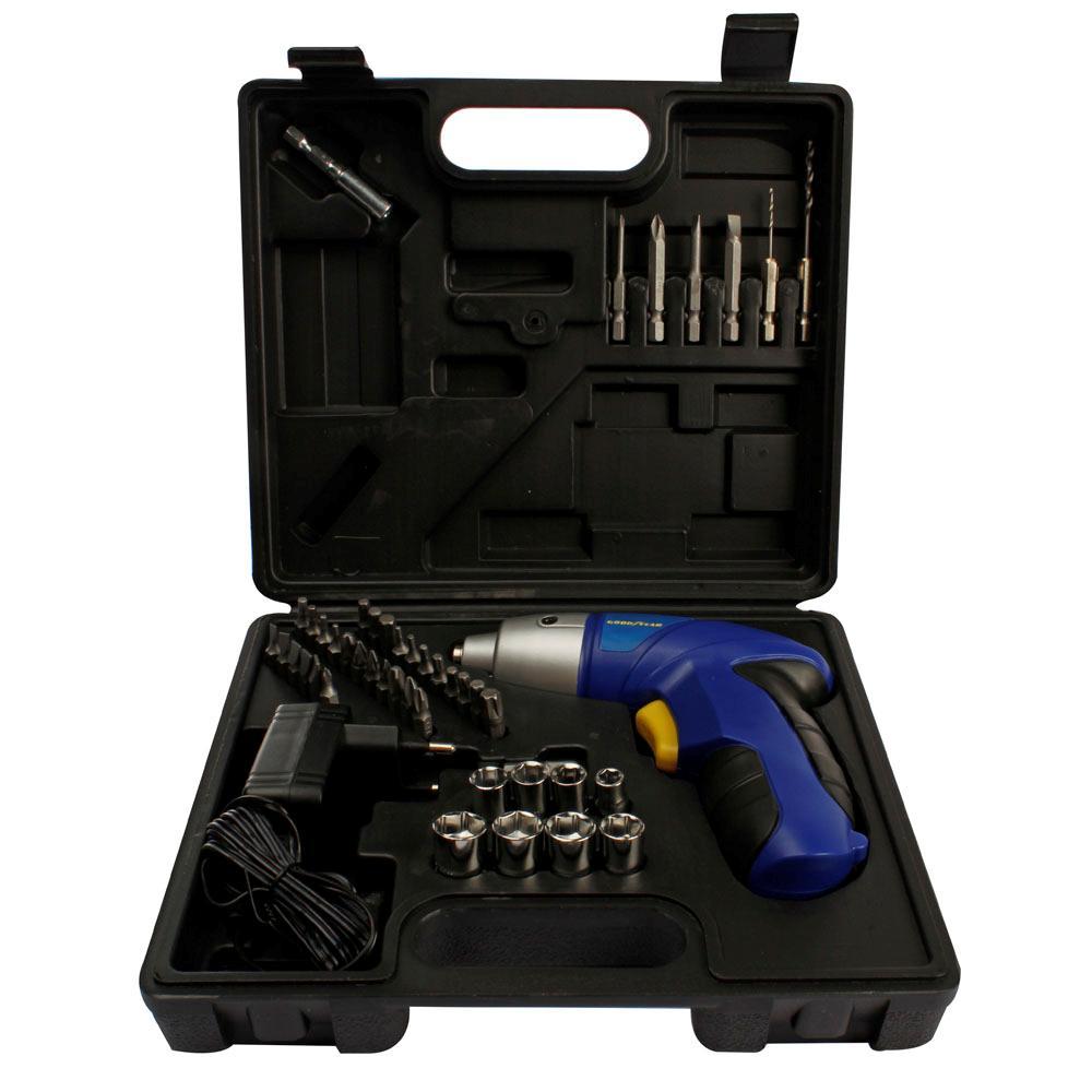Parafusadeira a Bateria 4.8v com Maleta 43 Acessórios - Goodyear