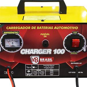 Carregador de Bateria Bivolt 10A Charger 100 - V8 Brasil
