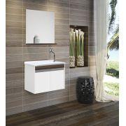 Armário para Banheiro Branco/Malaga Suspenso com Pia Espelho -Linha Roma 60