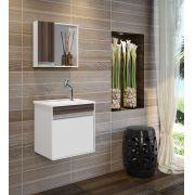 Armário para banheiro Branco/Malaga com Pia Espelheira- Sevilha 45