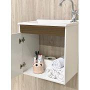 Armário para Banheiro com Espelho e Pia / Branco Vicenza-Linha Corupá 45