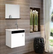 Armário para Banheiro Preto/Branco com Pia Espelho -Linha Corupá 45