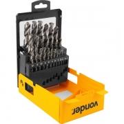 Jogo de Brocas de Aço Rápido DIN338 1mm a 13mm 25Pçs VONDER