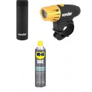 Kit Acessórios Bike Lanterna, Desengraxante e Garrafa Térmica