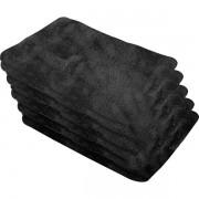 Toalha de microfibra 30cmx40cm 200 g/m² preta jogo com 5 peças VONDER