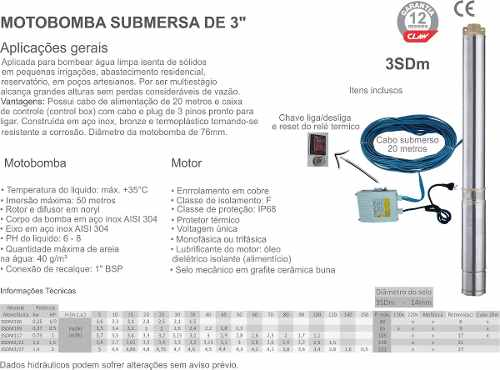 "Motobomba Submersa de 3"" 1/2hp - Claw"