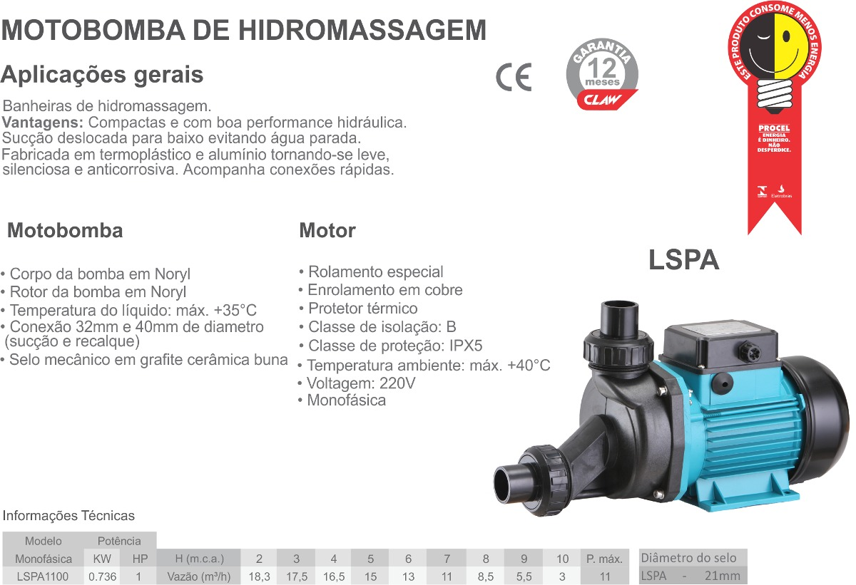 Motobomba de Hidromassagem 1hp 220v Monofásica - Claw