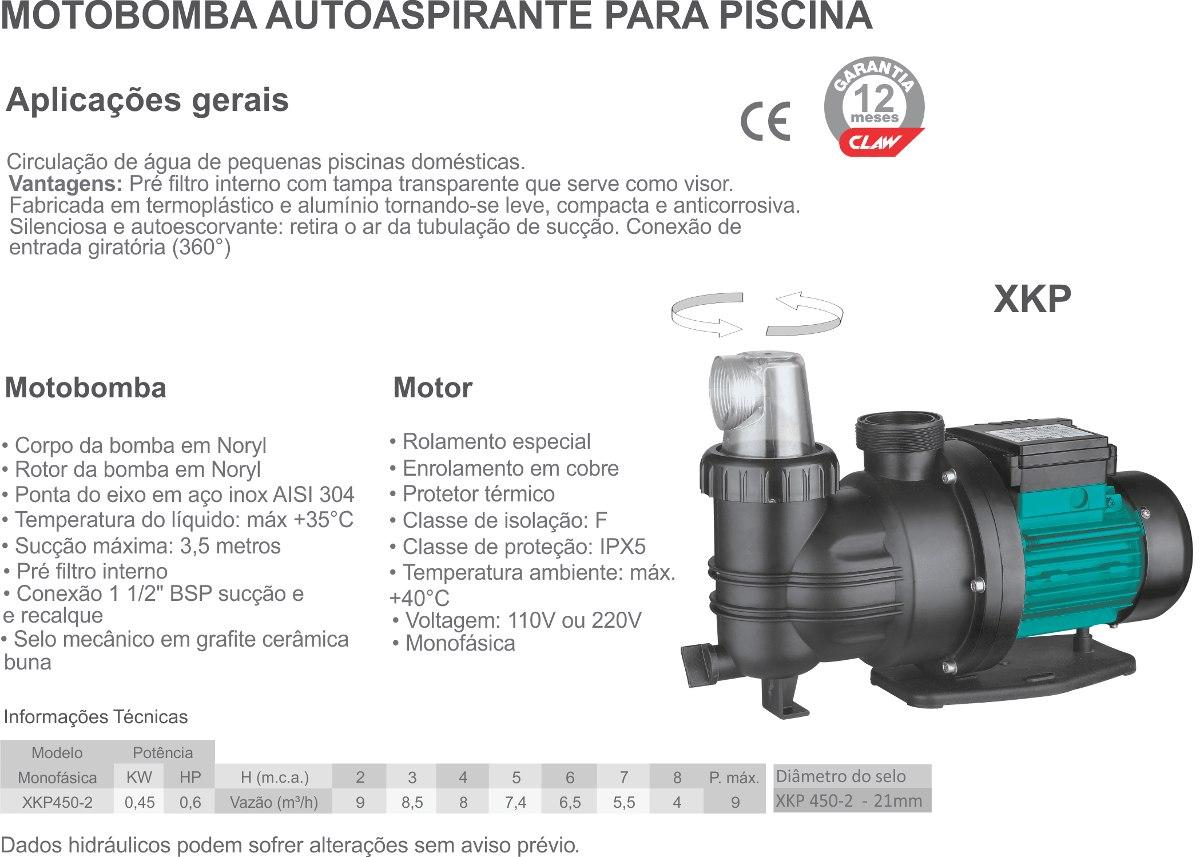 Motobomba Autoaspirante Piscina 0,6hp Monofásica - Claw
