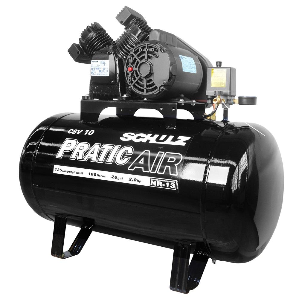 Compressor de Ar Trifásico CVS 10/100 Litros Pratic Air - Schulz
