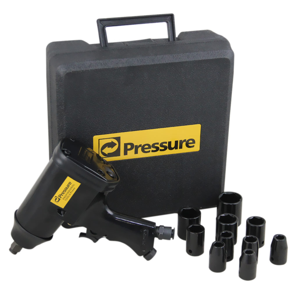 Chave de Impacto Pneumática 1/2 pol. + Maleta e Jogo de Soquetes 11 Peças - Pressure