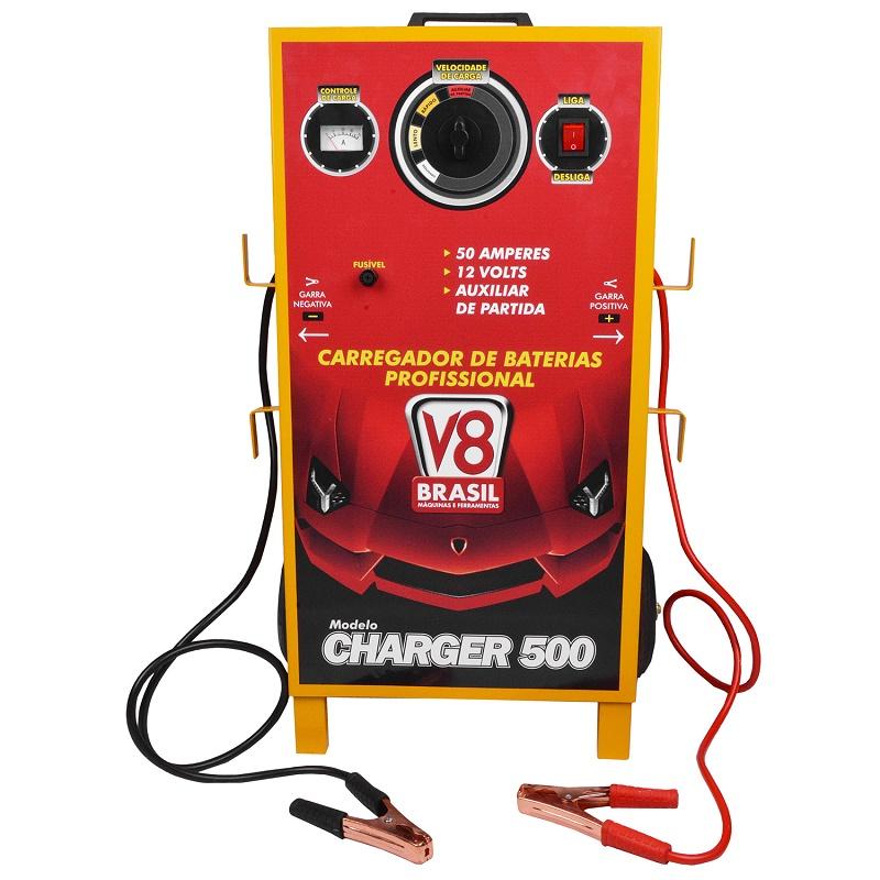 Carregador de Bateria Profissional Charger 500 Com Aux. de Partida - V8 Brasil