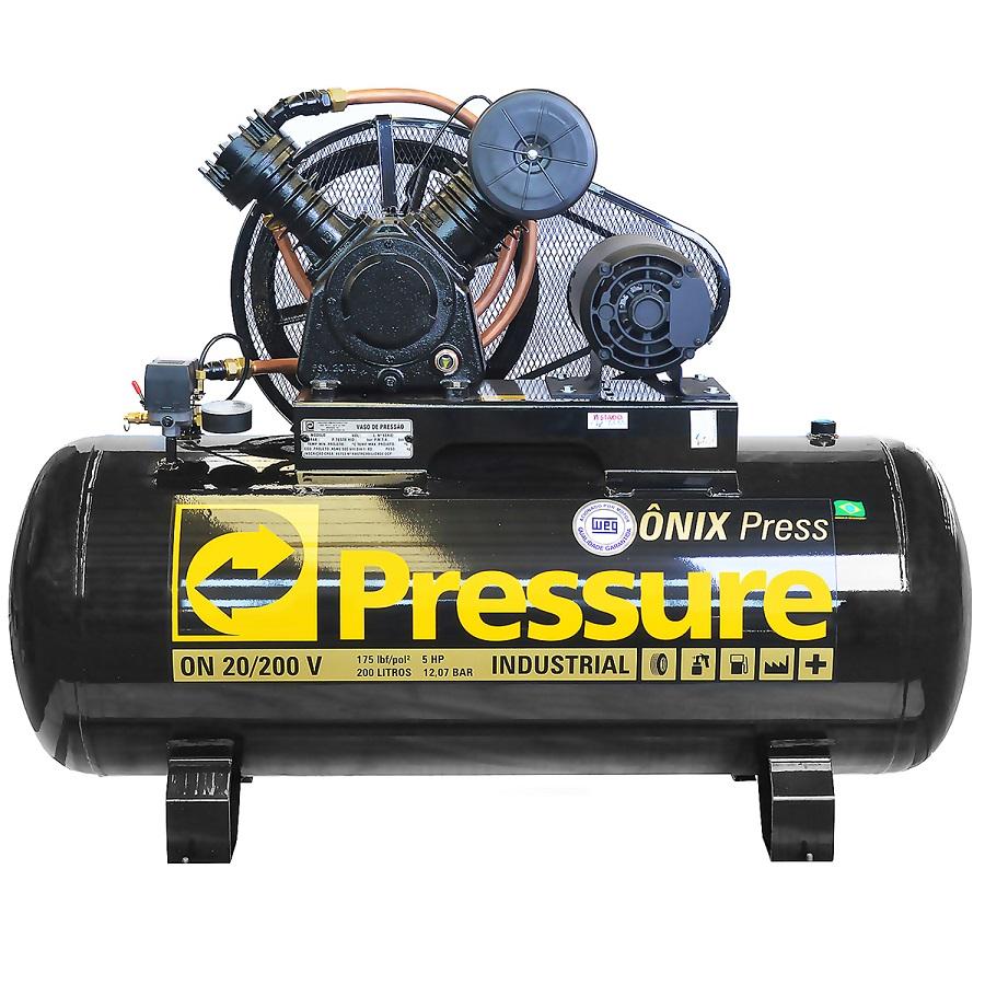 Compressor de Ar Onix 20/200 5 HP-V Trifásico 220/380V - Pressure