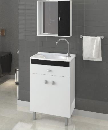 Armário para Banheiro Com Espelheira Branco com Preto / Linha Corupá 55 com Pés