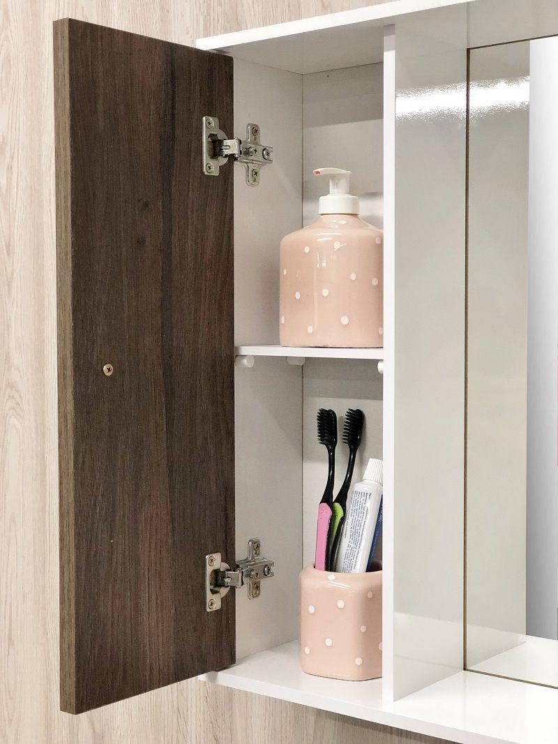 Armário para Banheiro Branco/Vicenza com Pia Espelheira e Pés -Linha Corupá 55