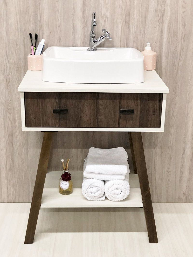 Armário para Banheiro Com Cuba Aspen/Vicenza -Linha Paris 65cm Com Espelho