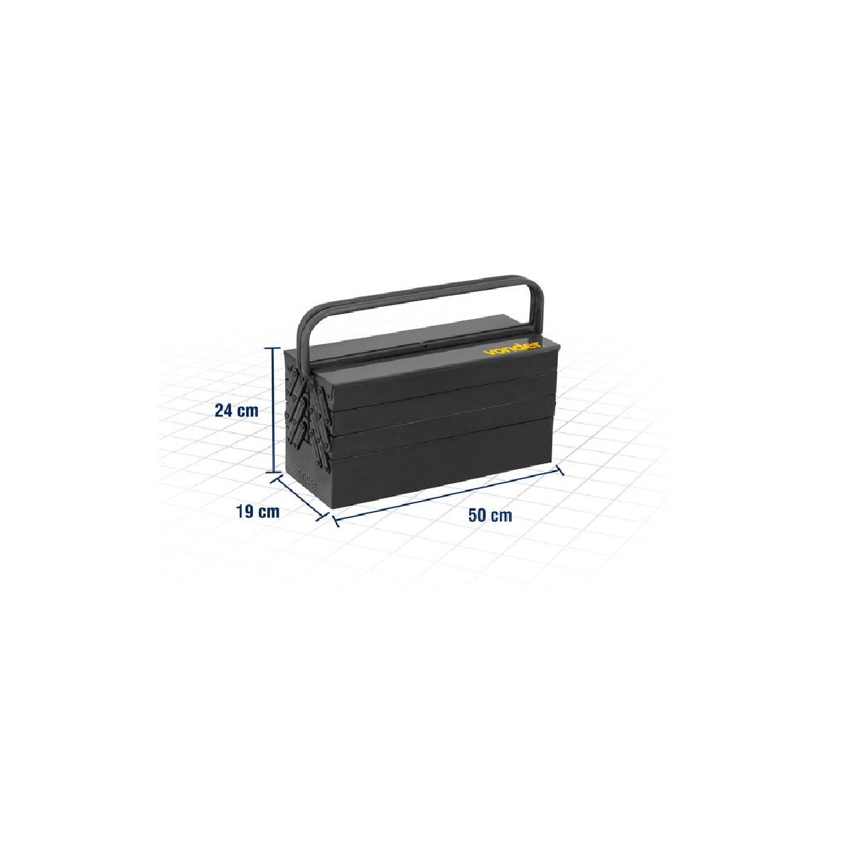 Caixa metálica P/ ferramentas Sanfonada 7 gavetas 50cm x 19cm x 24cm VONDER