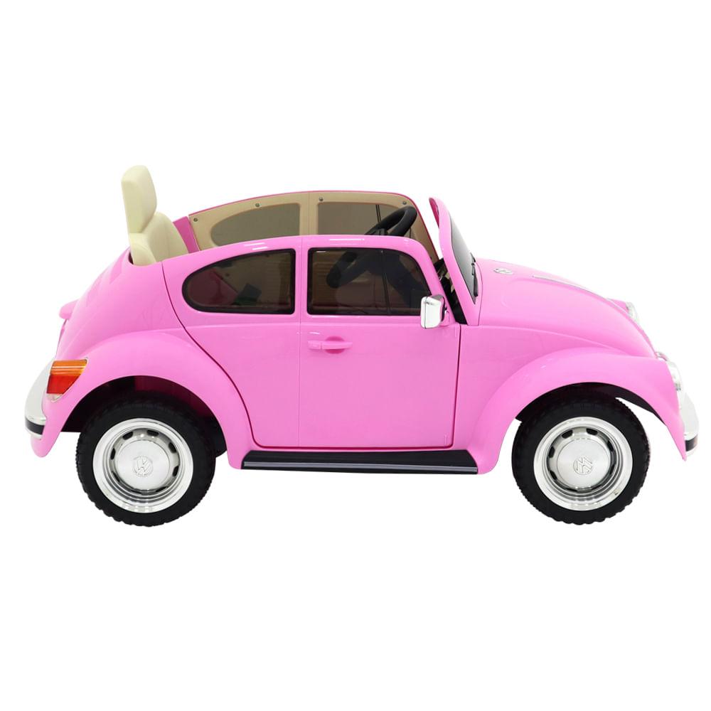 Carro Beetle Elétrico Infantil 12V Rosa Bel