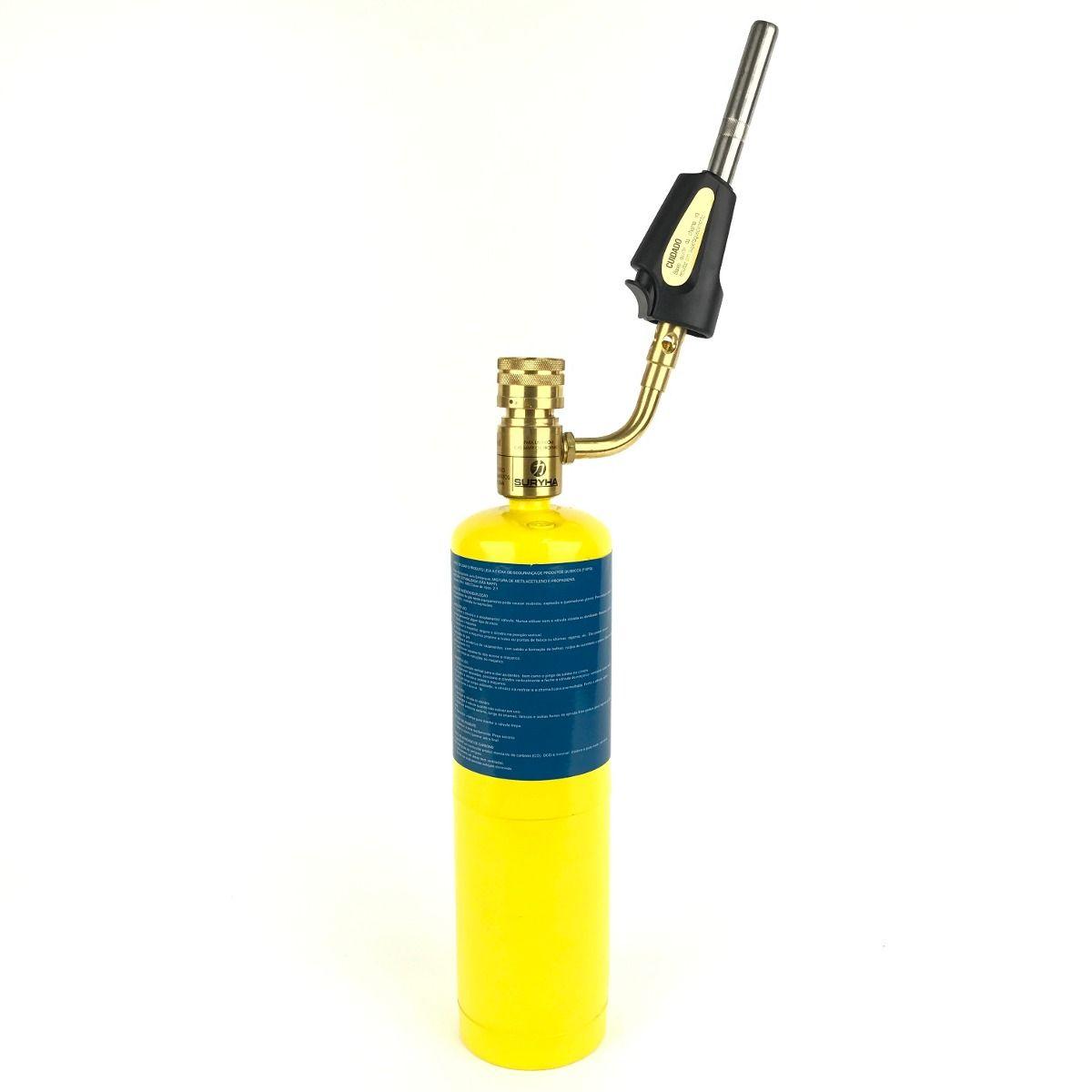 Cilindro Gás Propano 453,60gr + Bico Maçarico Automático - Suryha