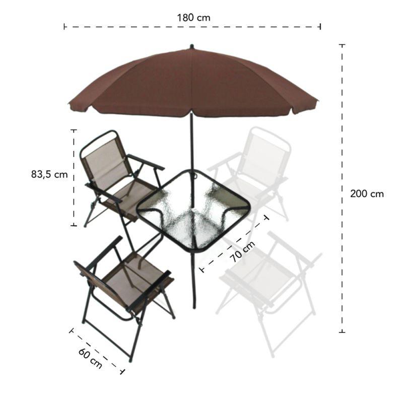 Conjunto Miami 4 Cadeiras Com mesa e Guarda Sol Café BelFix